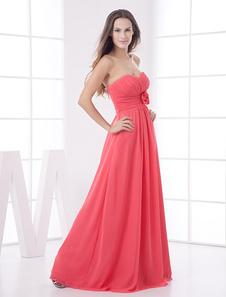 Vestido de dama de honra do Chiffon de Applique de comprimento vermelho piso sem alças Cor Coral