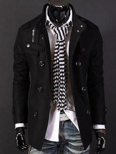 Мужчины Peacoat Черный Зимний Пальто Стенд Воротник с длинным рукавом Короткая куртка