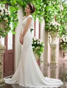 Vestido de novia de seda elástica de color marfil con escote en V   Milanoo