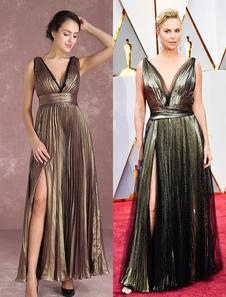 Шифоновое платье знаменитости Светло-золотистое с V-образным вырезом плиссированное вечернее платье длиной до пола, вдохновленное Шарлиз Терон в Оскаре Миланоо