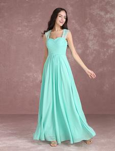 Vestido de Dama de honra Longo cauda até ao chão decote V em coração de gaze em linha-A sem mangas Verde Menta