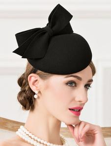 Traje do vintage chapéu lã laço atado capacete preto Flapper chapéu Halloween