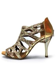 أحذية قاعة بريق  أحذية عالية الكعب فضة اللمحة تو قص خارج 1920s أحذية الرقص 2020