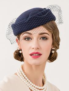 خمر الصوف قبعة زرقاء داكنة BOWKNOT المرأة Fascinator هالوين