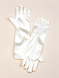 Атласный цветок девушка Перчатки цвета слоновой кости кружева цветок деталь плиссированные длинные Свадебные перчатки