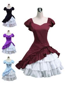 Borgoña Blanco Lolita OP Vestido Cortas Mangas cone Volantes