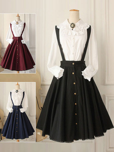 Classical Lolita Dress Military Style Cross Regression Lolita Salopette Button Suspender Skirt