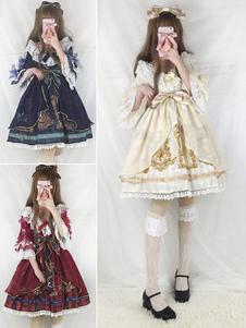 Lolita abito classico & tradizionale mezze maniche in chiffon pieghettature pizzo con scollo rotondo con stampe