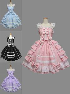 Vestidos de Lolita 2020 de tirantes de 100% algodón con tirantes de color-blocking de encaje