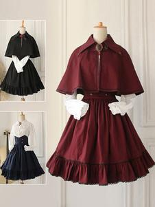 Классическая длинная юбка Лолита с высокой талией, оборками, из хлопока (в комплекте только юбка).