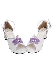 Sandalias de lolita blancas tejidas