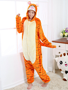 Pijama Kigurumi Tigger Onesie Franela naranja Anime Ropa de dormir de invierno para adultos Unisex Espalda con cremallera Disfraz Halloween