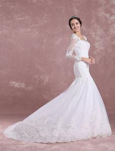 Русалка свадебное платье с длинным рукавом Люкс платье кружево аппликация Анна Королева воротник вырезать назад свадебное платье с часовней поезд