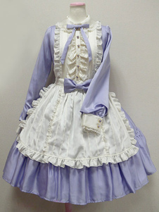 Sweet Lolita Dress OP Ocean Blue Turndown Collar с длинным рукавом Lolita One Piece Dress�