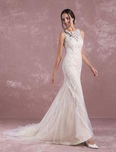 Летние свадебные платья 2020 Шампанское Русалка Тюль Свадебное платье Чистое кружево Милая Иллюзия Свадебное платье с поездом