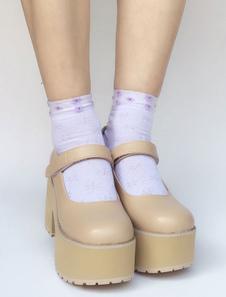 Zapatos de lolita de PU de puntera cuadrada Color liso beige estilo street wear