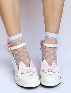 Zapatos de lolita de PU de puntera redonda de dos tonos blancos estilo street wear