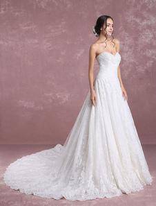 Vestido de noiva luxo Com Cauda em linha-A decote V em coração sem fitas Cintura Natural Lace up de renda
