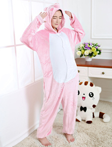 Kigurumi Пижамный Пятачок Onesie Розовый Фланелевой Животных Пижамы Для Взрослых Назад С Молнией Хэллоуин