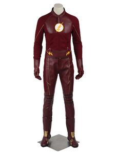 Carnevale Il Flash stagione 2 Barry Allen Costume Cosplay guanti&top&cappello&cintura set Fumetti Americani Carnevale