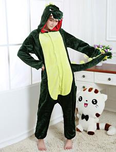 Kigurumi بيجامة ديناصور نيسيي الأخضر الفانيلا ملابس للنوم للبالغين إلى الوراء مع زيبر هالوين