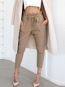 Бумажная сумка Брюки Женщины Серый Drawstring Обрезанные брюки