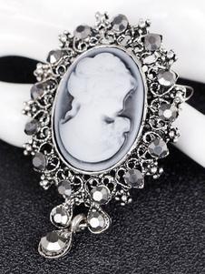خمر الزفاف بروش النقش بورتيت الفيكتوري مرصع بالجواهر دبوس بروش المجوهرات