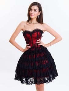 Sweetheart Lace delle donne di pizzo corsetto abito Up senza spalline tono due strati Overbust corsetti