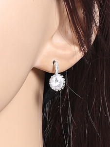White Stud Earrings Rhinestones Beaded Alloy Earrings Jewelry