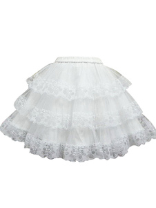 Laço branco doce Lolita saia camadas flor Print