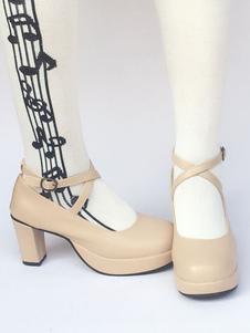منصة لوليتا الصنادل مكتنزة كعب المشمش عبر حزام جولة تو أحذية لوليتا