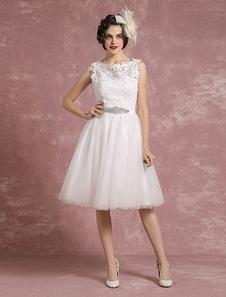 Ilusión de encaje boda vestido corto vestido de Novia de tul sin mangas rebordear marco una línea de vestido de novia