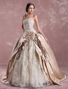 Vestidos de novia de la princesa 2020 Champagne Victoria vestido de novia de satén de un hombro bordado vestido de novia