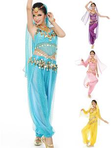 Costume Carnevale Costume di Danza del Ventre 2020 Abito da Ballo in Bollywood di Chiffon Blu con Velo da Donna