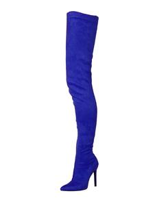 Stivali Alti tacco a fino Stivali sopra il Ginocchio Blu Royal Stivali a punta tessuto elastico 10cm monocolore Inverno Autunno Zip festa