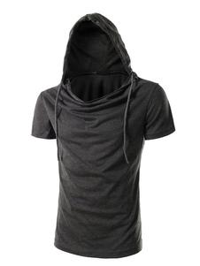 Черная мужская рубашка с капюшоном Ruched с коротким рукавом Повседневная футболка Хлопок