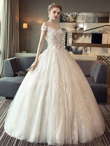 فساتين زفاف الدانتيل الأميرة الكرة ثوب ثوب الزفاف قبالة الكتف العاج الزهور زين الطابق طول ثوب الزفاف
