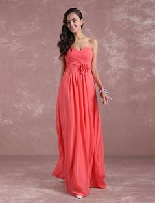 Vestido de Dama de Honor Largo con escote en corazón hasta el suelo Cremallera con pliegues sin mangas de línea A Rojo coral