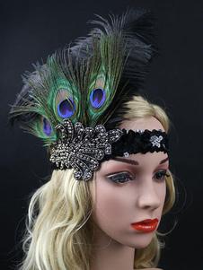 4958dc2497bdad Vintage Feather Fascinator Black Birdcage Net Retro Headpiece Hat: $ 36.99.  Flapper Feather Headband 1920s Vintage Costume Accessories ...