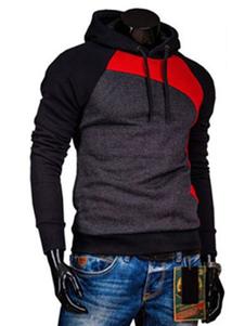Hoodie For Men Drawstring Цветной блок с длинным рукавом Хлопок Пуловер Толстовка Вскользь Вверх