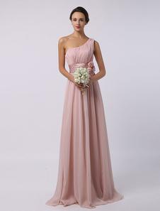 Abito da damigella d'onore rosa chiaro lungo in chiffon Lunghezza del pavimento Una spalla Una vita da cerimonia nuziale