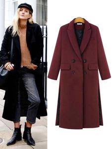 Casaco de mulheres Longline Turndown Collar botão Slit casaco de inverno