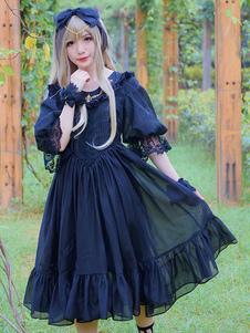 Vestido Lolita de Mangas para informal com mangas de 1/2 de organza clássico & tradicional cor sólida bodyicon