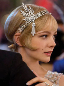 Costume Carnevale Flaps vintage anni '40 The Great Gatsby Silver Retro Costume Headpieces  Costume Carnevale