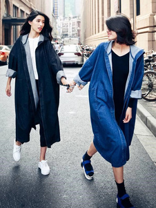 Женская джинсовая пальто негабаритных синий с капюшоном длинный рукав Бойфренд длинные ветровка