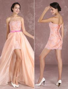 Румяна розовый Выпускной платье оболочка кружева аппликация без бретелек длинные платья бисером органзы съемный шлейф долго платье партии