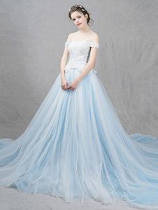 Tulle nozze abito pastello blu fuori lo spalla Abito da sposa pizzo perline una linea lusso abito da sposa con Cattedrale di treno