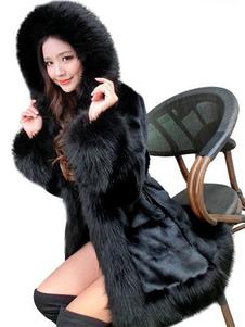 معطف الفرو فو أسود مقنعين المرأة طويلة الأكمام معطف منفوش الشتاء