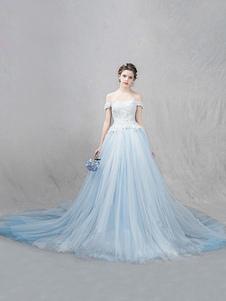 Vestido de Tule casamento azul Pastel fora as rendas  ombro perolização um linha de luxo