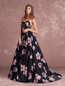 Concurso floral vestido vestido de formatura longo preto Sweatheart Strapless desossado impressos capela trem vestido
